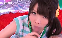 Adorable asian teen girl sucking hard penis in a tent