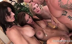 Three cougars get fucked and mouth cummed in 4some