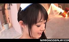 Asian cosplay sex scene with teen cutie in nurse stockings