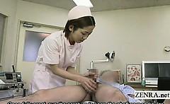 Subtitles CFNM Japanese nurse measuring handjob cumshot