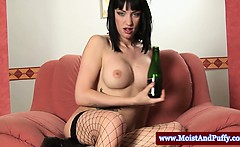 big taco slut with fingers and a bottle