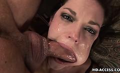 Cute brunette Bobbi Starr gags on a cock