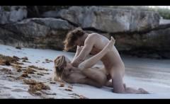 extreme art sex of neat couple on beach