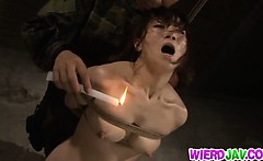 military milf gets stripped out of her uniform for hot wax