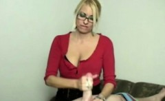 Handjob blonde busty MILF wanking dick