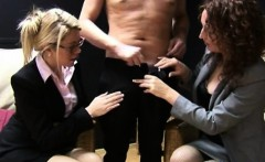 CFNM hj loving business women toying with guys cock