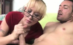 Handjob blonde mature with glasses jerks young dude