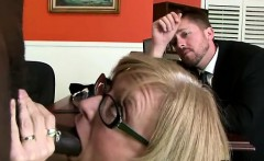 Gorgeous mature blonde helps son to keep his job