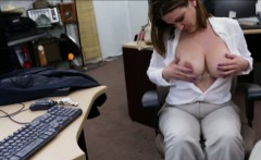 Busty businesswoman ends up fucked in the pawnshop for money