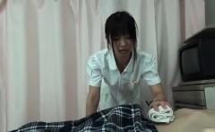 Sexy asian nurse gets horny rubbing