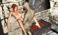 Hot 3D redhead babe gets fucked hard by a goblin