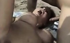 Busty Chick In A Threesome Outside