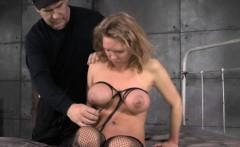 Bondage fetish Rain DeGrey tied to bed while in strapjacket