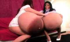 Hot brunette babes get horny showing off