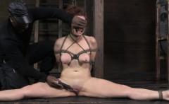 Tied up bondage slave Bella Rossi clit teased