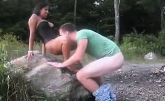 Black girl fucks in nature