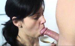 Young brunette girl wants milk in her coffe and a guy
