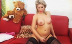 Busty Blonde Shemale Masturbating her Big Cock