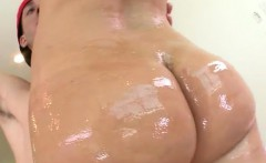 Katja Kassin oils up her plump ass then takes a beefy cock