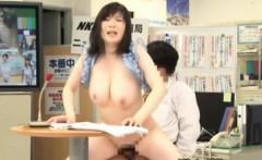 Oriental newsreader getting fucked on tv