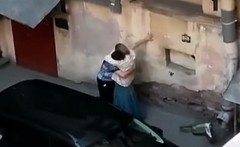Chubby Mature with her boyfriend fucking on public
