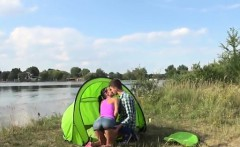 Eveline getting plowed on camping site