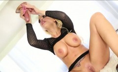 Huge boobs masseuse Britney massage cock under the table