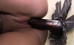 Slut swallows black cum