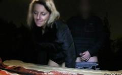 blonde amateur banging lean on back of van in public