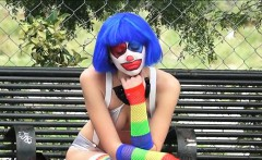 Frown clown Mikayla free cum on mouth from stranger dude