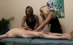 Naughty British CFNM girls finish a massage with a handjob