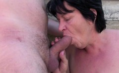 German Hairy Milf get seduce to fuck public