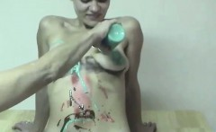 2 Teen Babes Playing with Paint