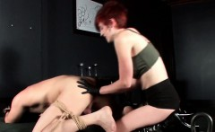 Roped male sex slave gets butt hole tortured