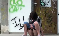 Crazy pissing on the street with amateur babes