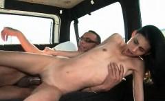 Skinny babe fucked hardcore on bus backseat