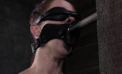 Gagged submissive has her pussy punished