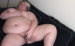 Fat Blonde Woman Masturbates At Home