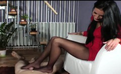 Chick Gives A Foot Job With Pantyhose On