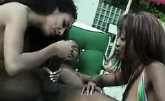 Black Threesome With A BBC Outdoors