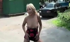 Blonde Flashing Her Privates Outside
