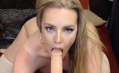Hot Blonde Babe Hard Dildo Masturbation