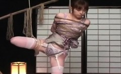 Shy asian chick gets roped up