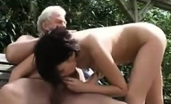 Grandpa And A Latin Teen Have Fun Outside
