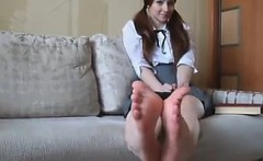 Sweet Schoolgirl Takes Off Her Socks