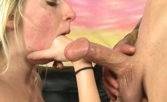 Blonde Very Roughly Deep Throating Dick From Her Knees