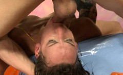 Brunette Amateur Gagging During Face Wrecking Threesome