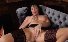 Horny MILF In Stockings Fingers Her Pussy