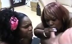 Large Ebony Sluts Sharing A Hard Cock