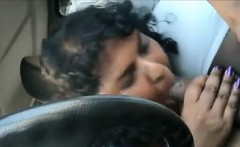 fat indian sucking on a cock in the car